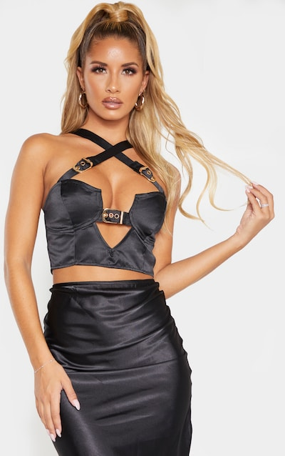Black Satin Buckle Detail Bralet