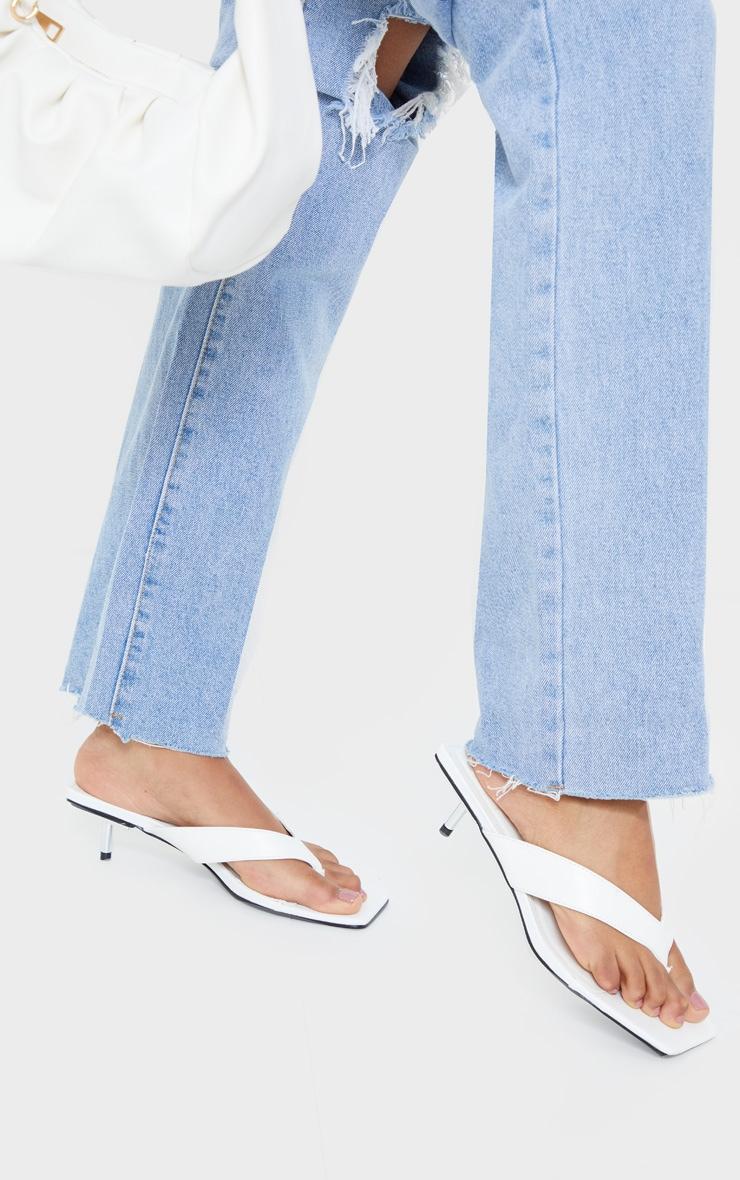 White Mini Pin Heel Square Toe Thong Heels 2