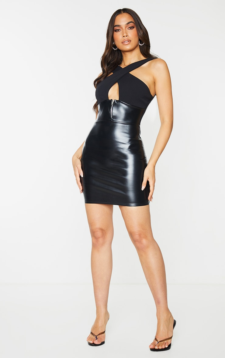 Black PU Zip Detail Cross Front Bodycon Dress 3