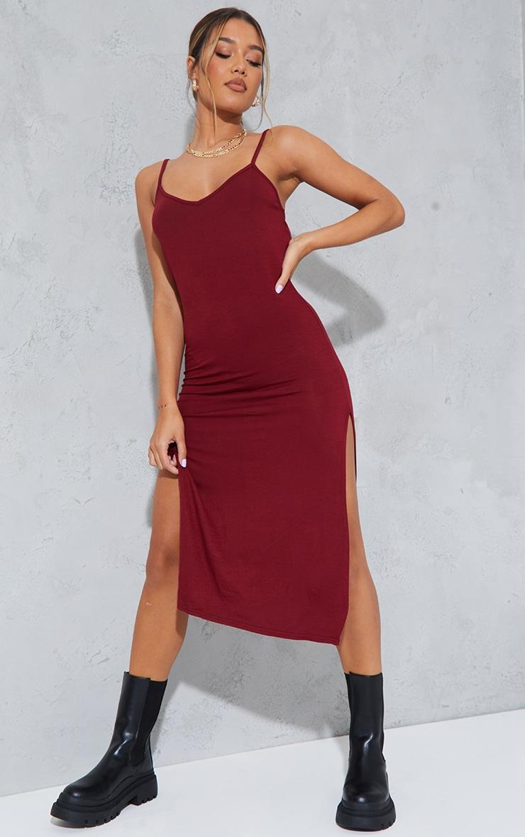 Dark Red Jersey Split Cami Midi Dress 1