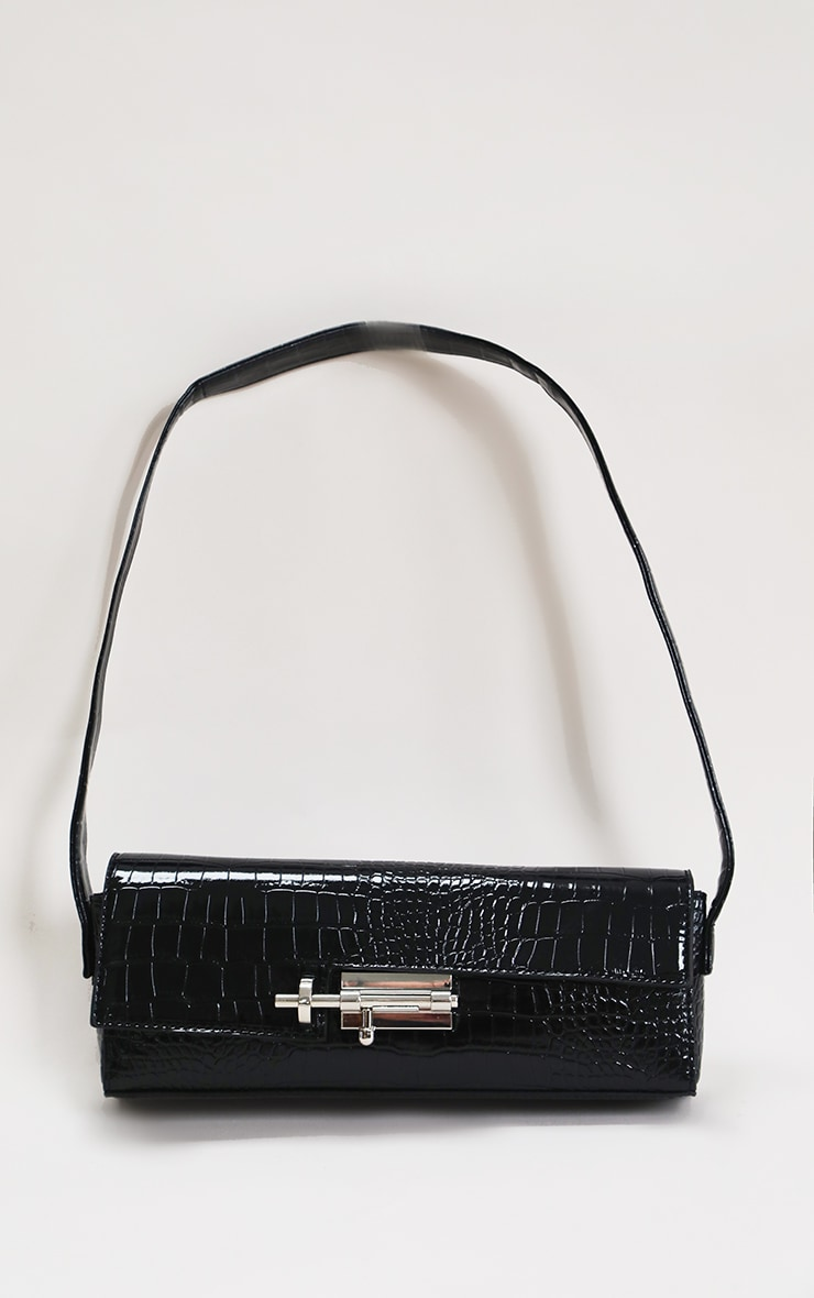 Black Croc Rectangle Baguette Bag 1