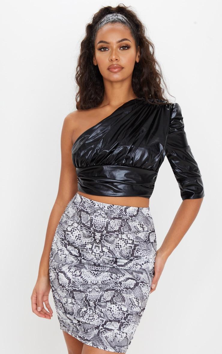 Grey Snake Print Slinky Ruched Mini Skirt 1