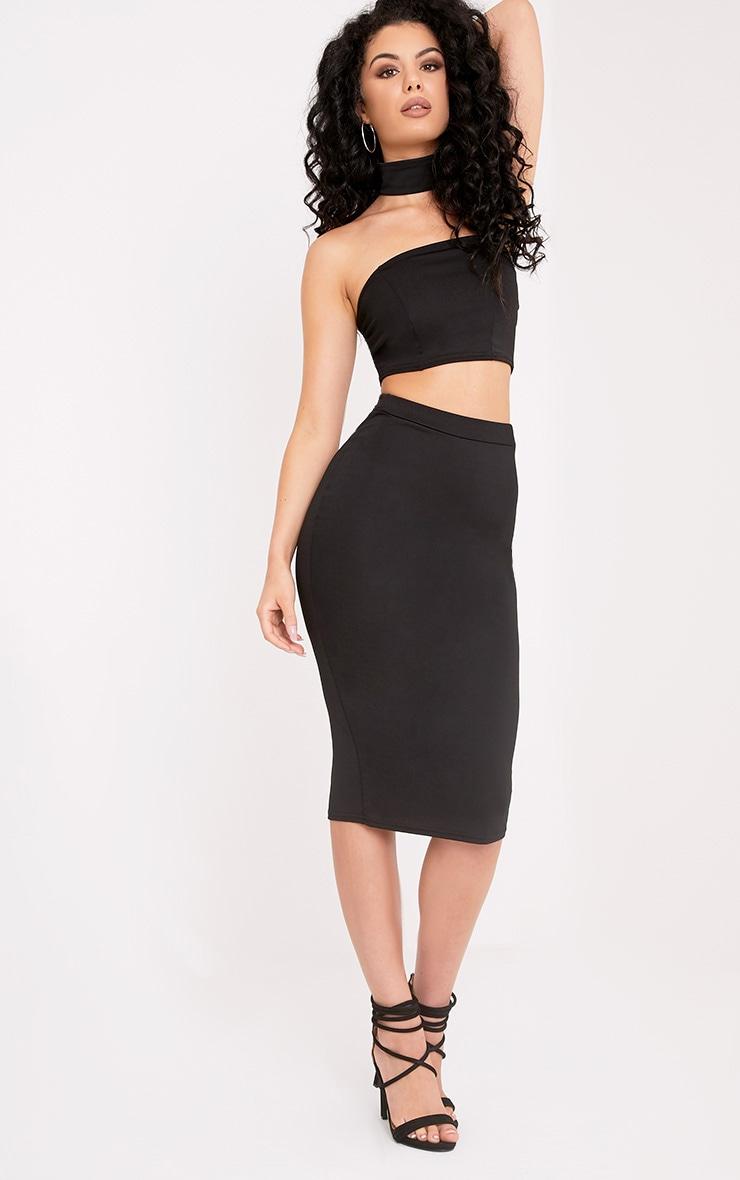Lacy Black Crepe Midi Skirt 1