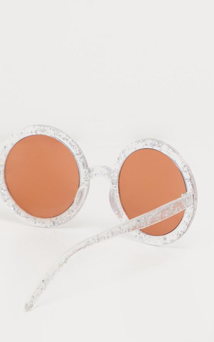 White Moon And Stars Glitter Round Sunglasses 2