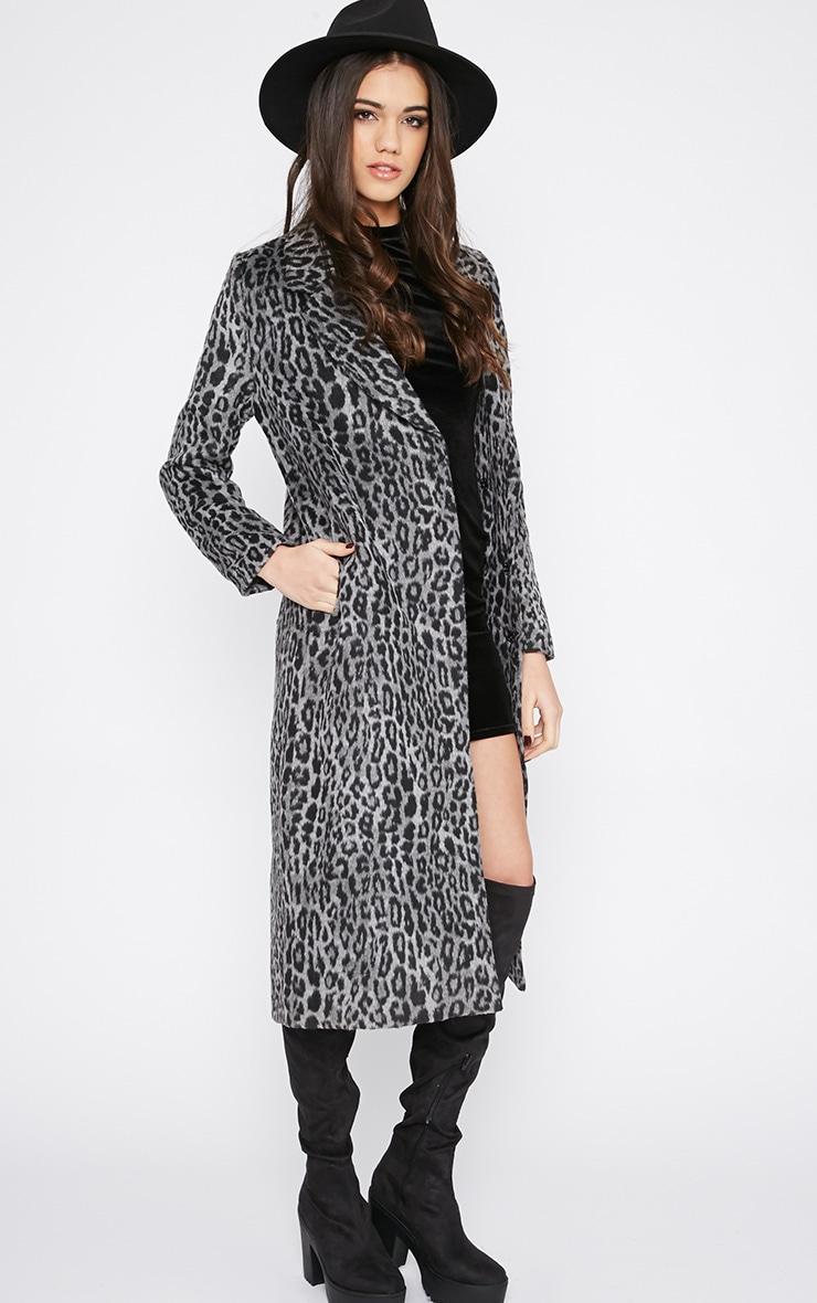 Tansy Charcoal Leopard Longline Coat  3