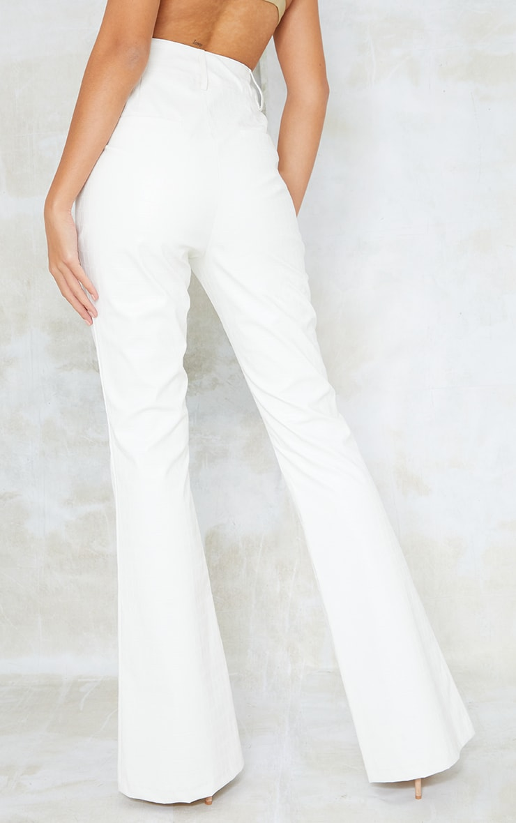 Tall Cream Faux Leather Croc Embossed Flare Trousers 3