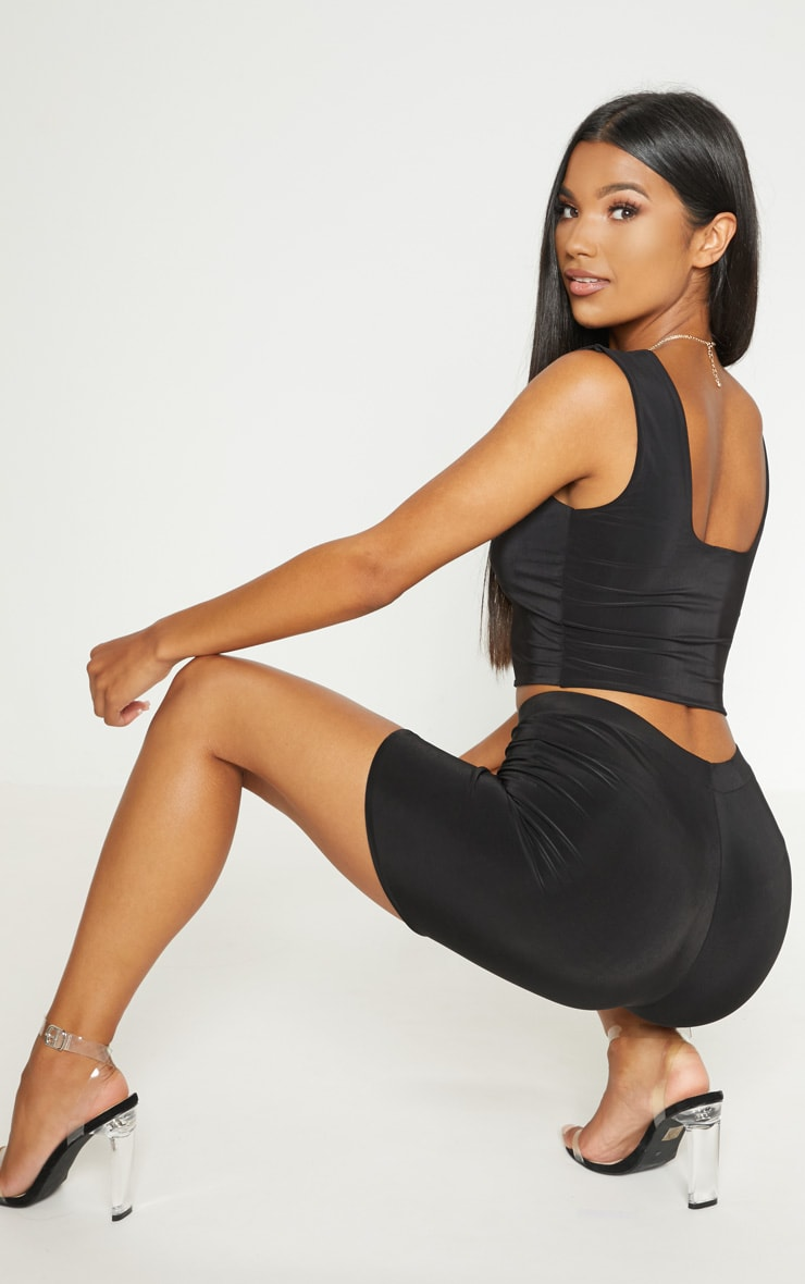 Bella Black Slinky High Waisted Cycle Shorts image 1