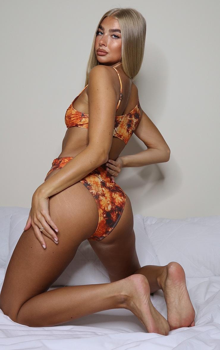 Orange Tie Dye Print Minimal Ring Cut Out Bikini Top 3