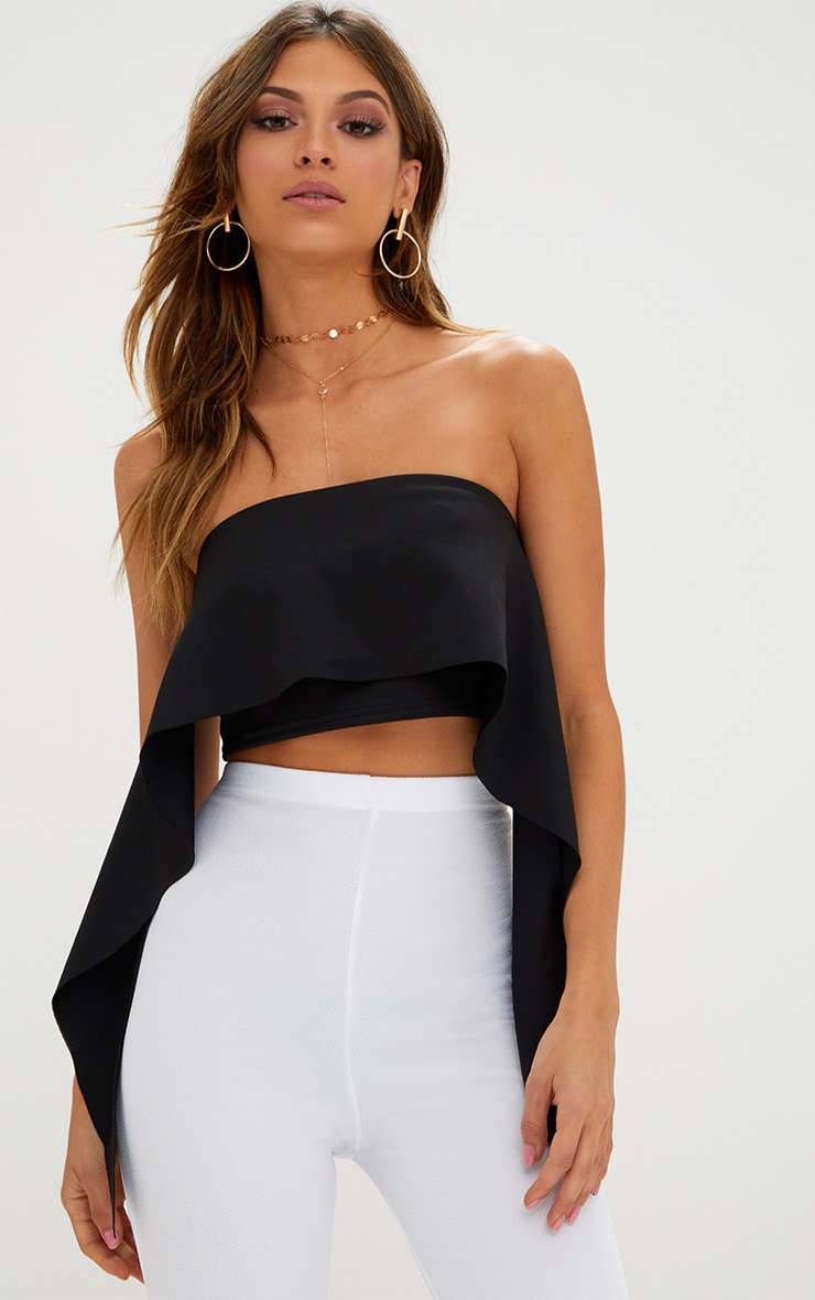 Black Frill Bandeau Crop Top  1