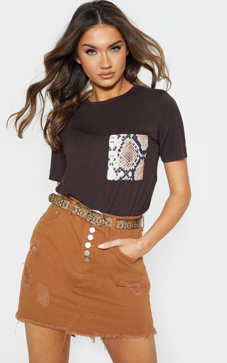 Chocolate Print Pocket T Shirt 1
