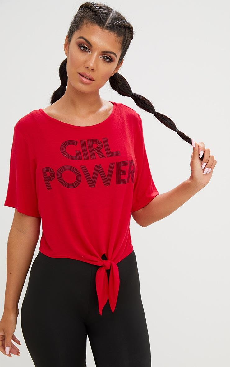 Girl Power Crop Tie Front Top Red 1