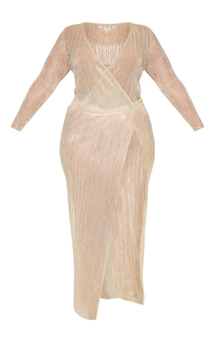 Plus Gold Sheer Plisse Wrap Maxi Dress 3