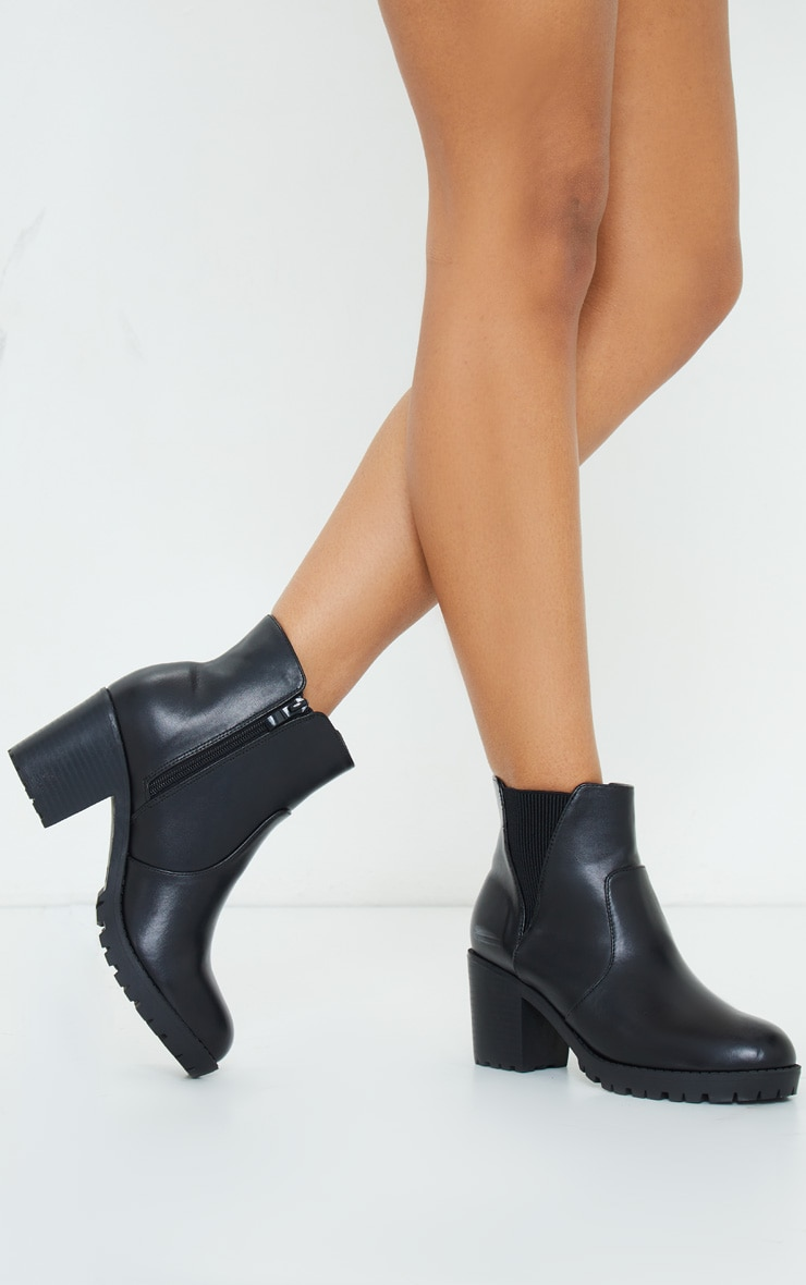 Black Basic PU Cleated Sole Heeled Ankle Boots 2