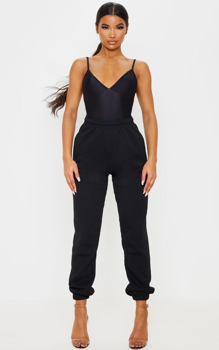 Black Stretch Slinky Cup Detail Strappy Bodysuit 5