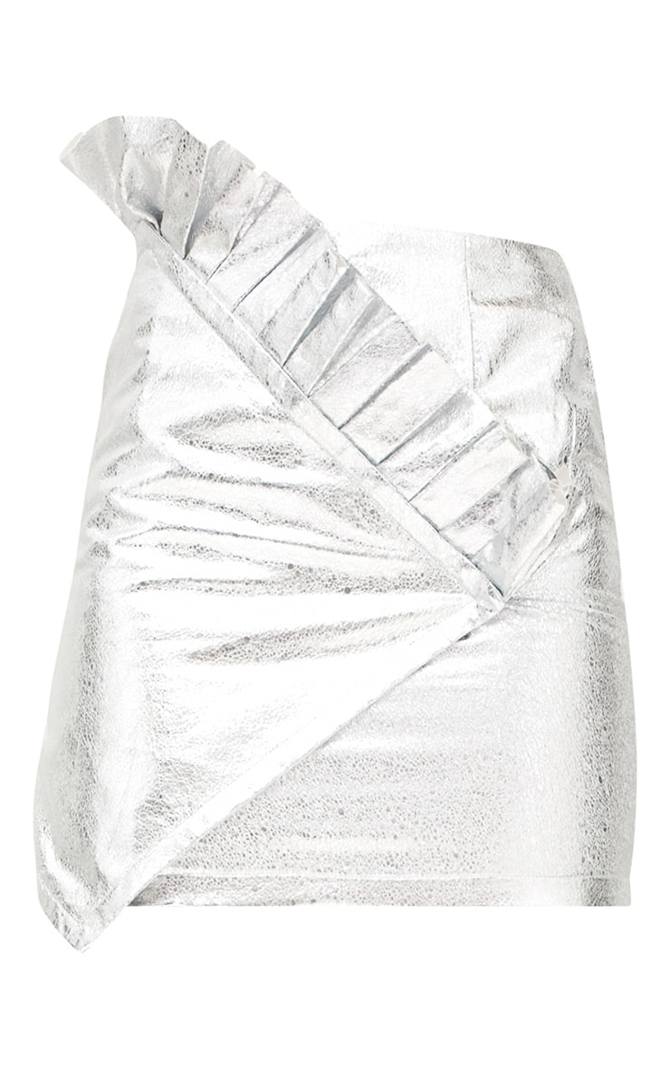 Silver Metallic Crack Vinyl Frill Panel Mini Skirt 3