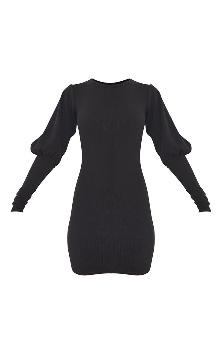 Black Crinkle Rib Puff Shoulder Long Sleeve Bodycon Dress 5