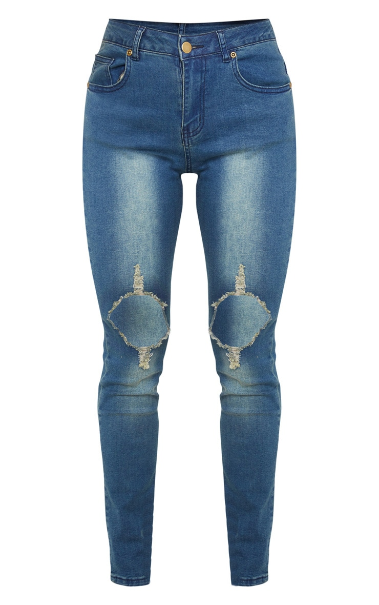 Petite Vintage Wash Distressed Knee Skinny Jean 3