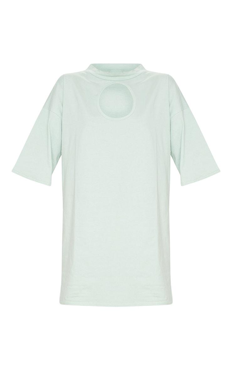 Sage Green Keyhole Bust Detail T Shirt Dress 5