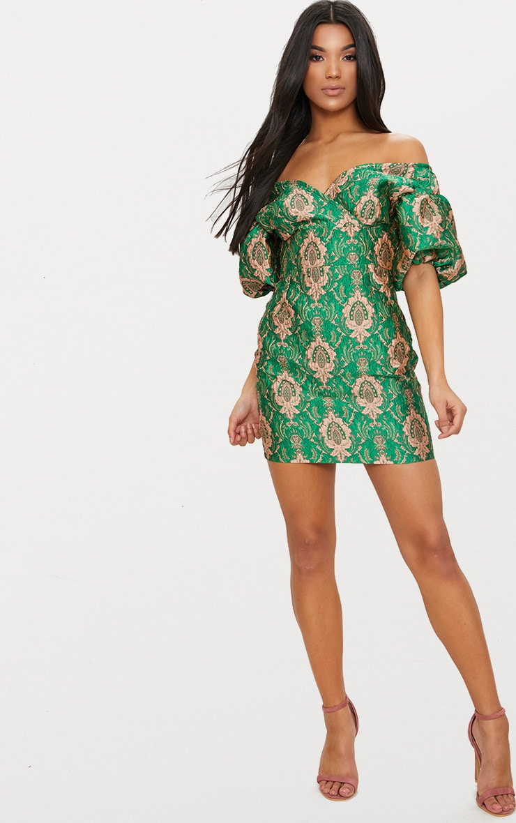 Green Jacquard Puff Sleeve Plunge Bodycon Dress 4