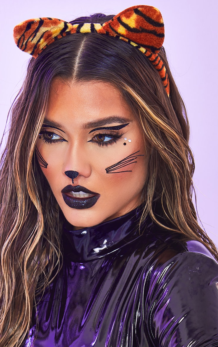Halloween Jewelled Cat Face Stickers 3