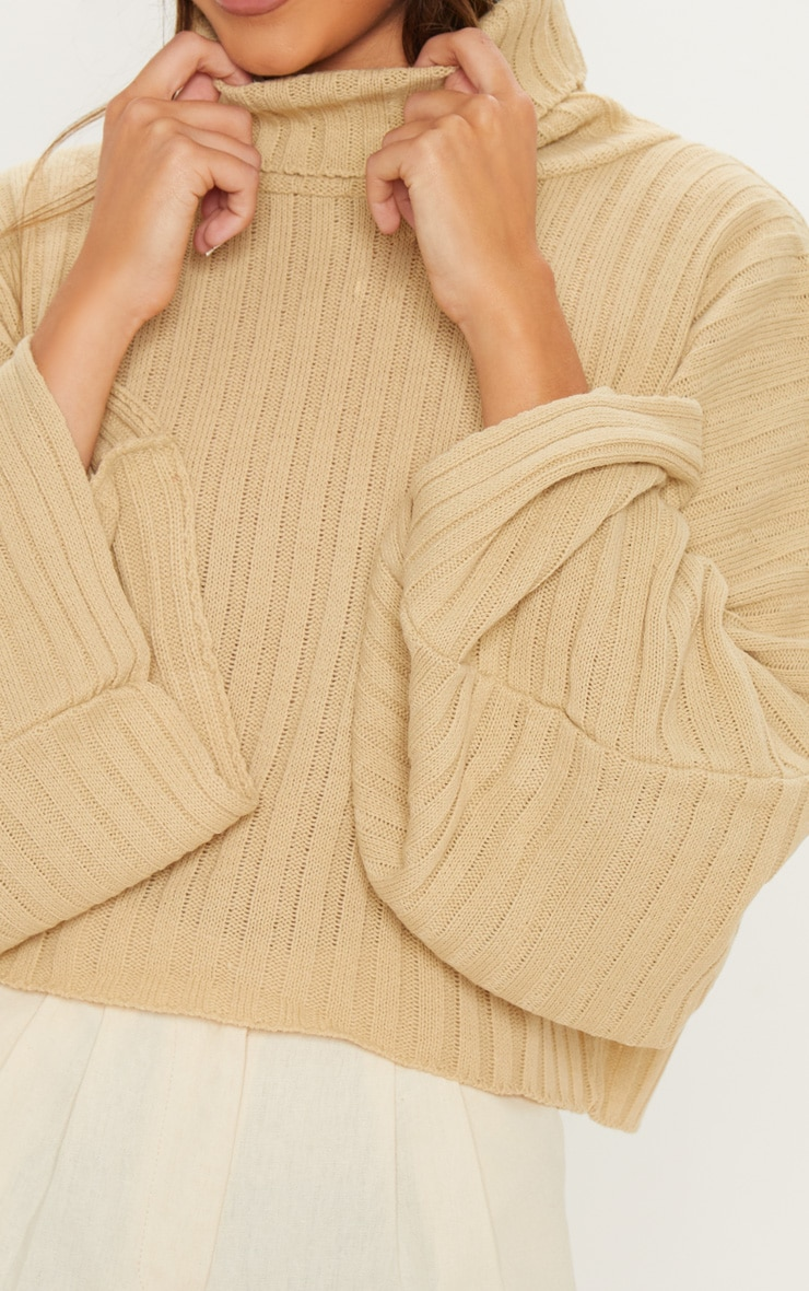 Camel Ribbed Knit High Neck Jumper 4