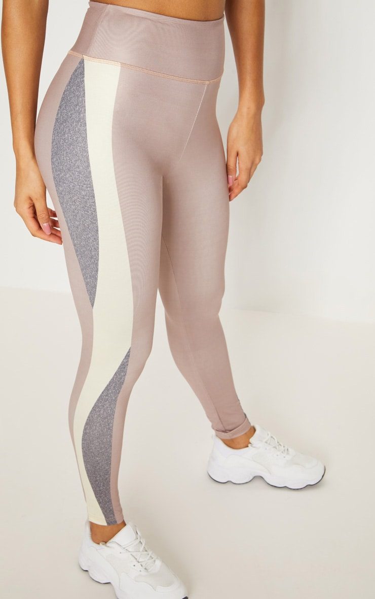Taupe Contrast Panelled Sports Leggings 6
