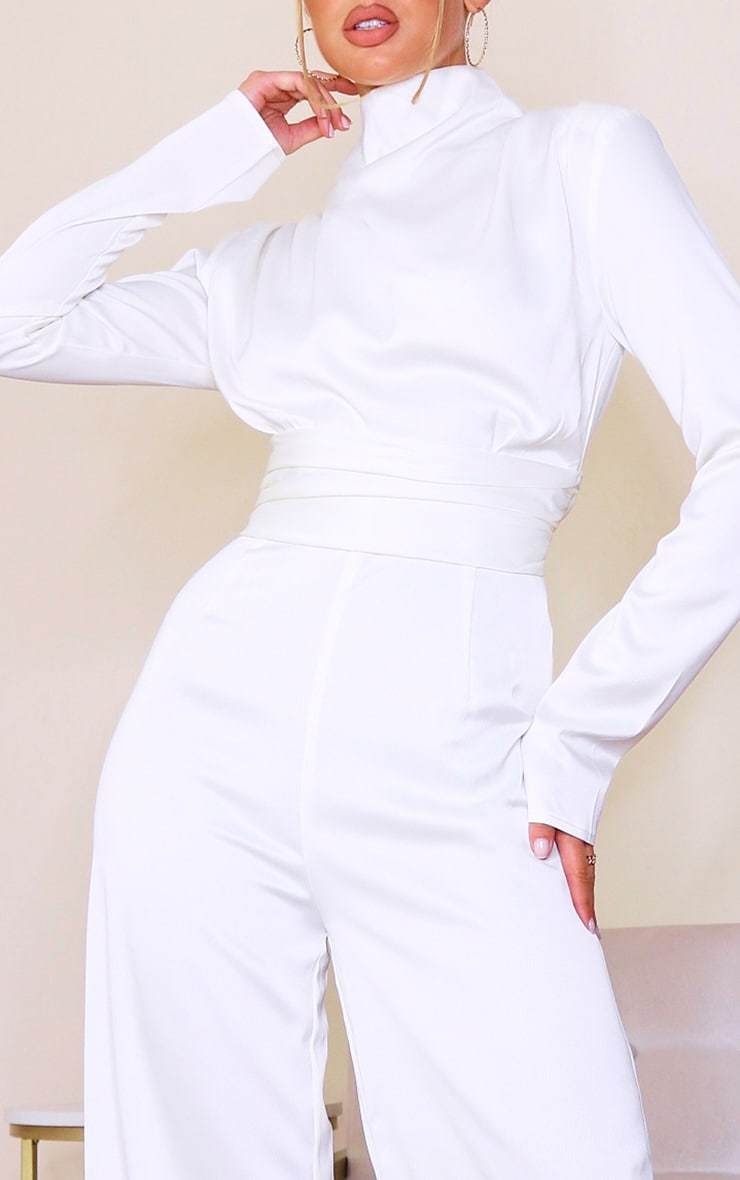 White Satin High Neck Long Sleeve Jumpsuit 4