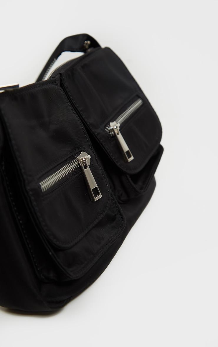 Black Nylon Double Pocket Shoulder Bag 4