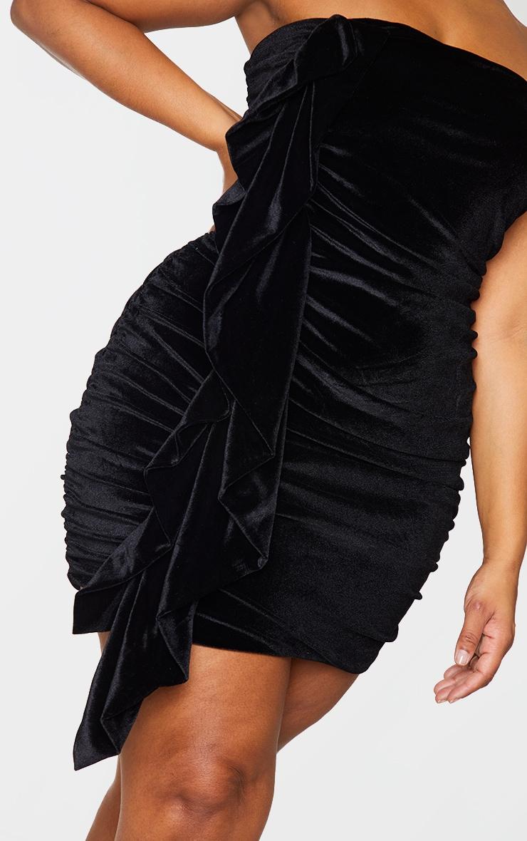 Plus Black Velvet Ruched Bandeau Dress 4