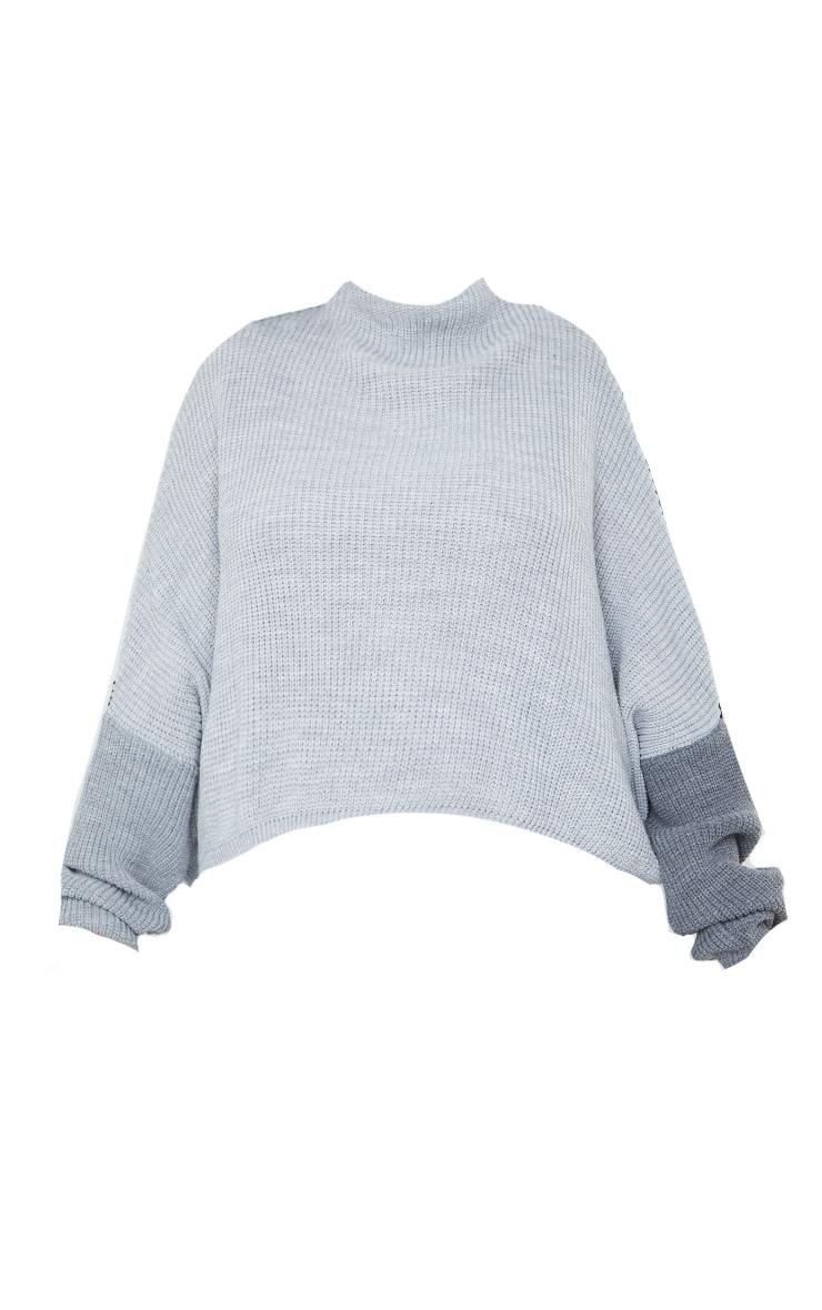 Plus Black Oversized Colour Knitted Block Jumper 5
