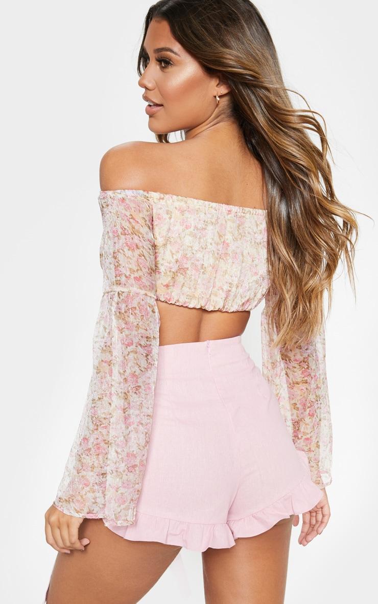 Pink Ditsy Floral Printed Chiffon Bardot Long Sleeve Crop Top 2