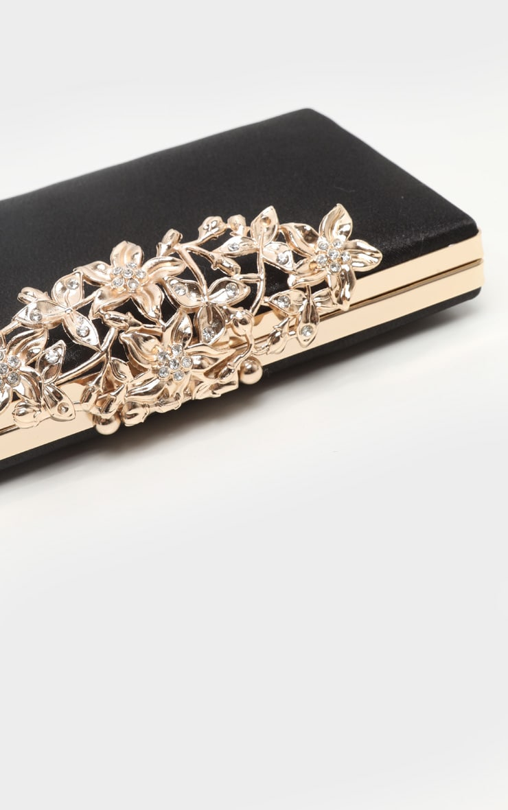 Black Satin Gold Diamante Flower Clasp Box Clutch 2