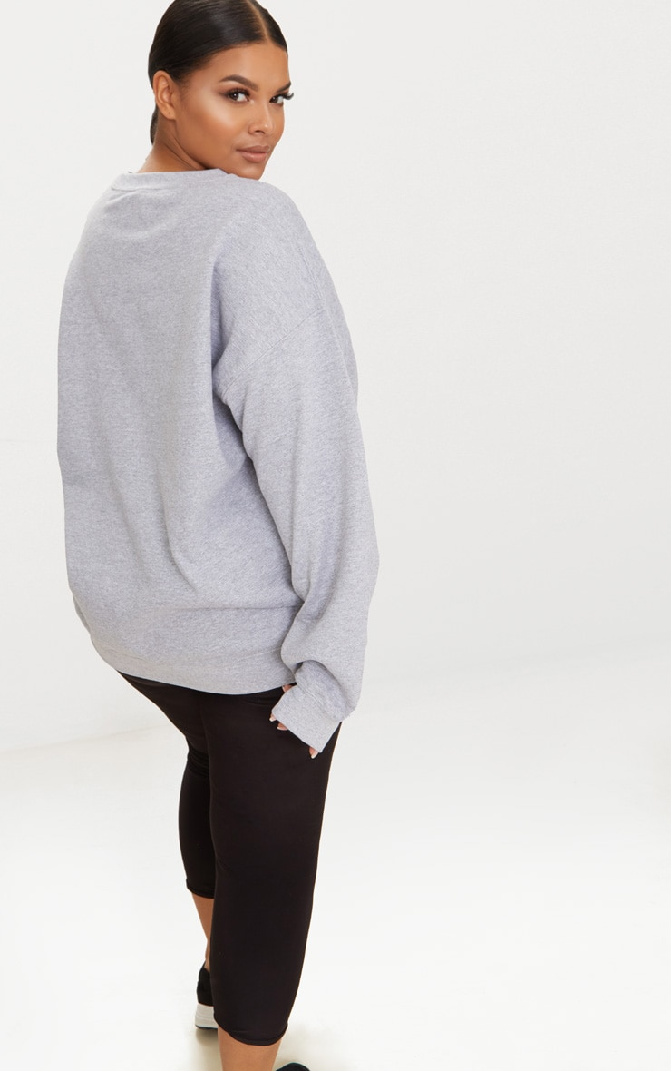 Plus Grey Marl California Slogan Oversized Sweater 2