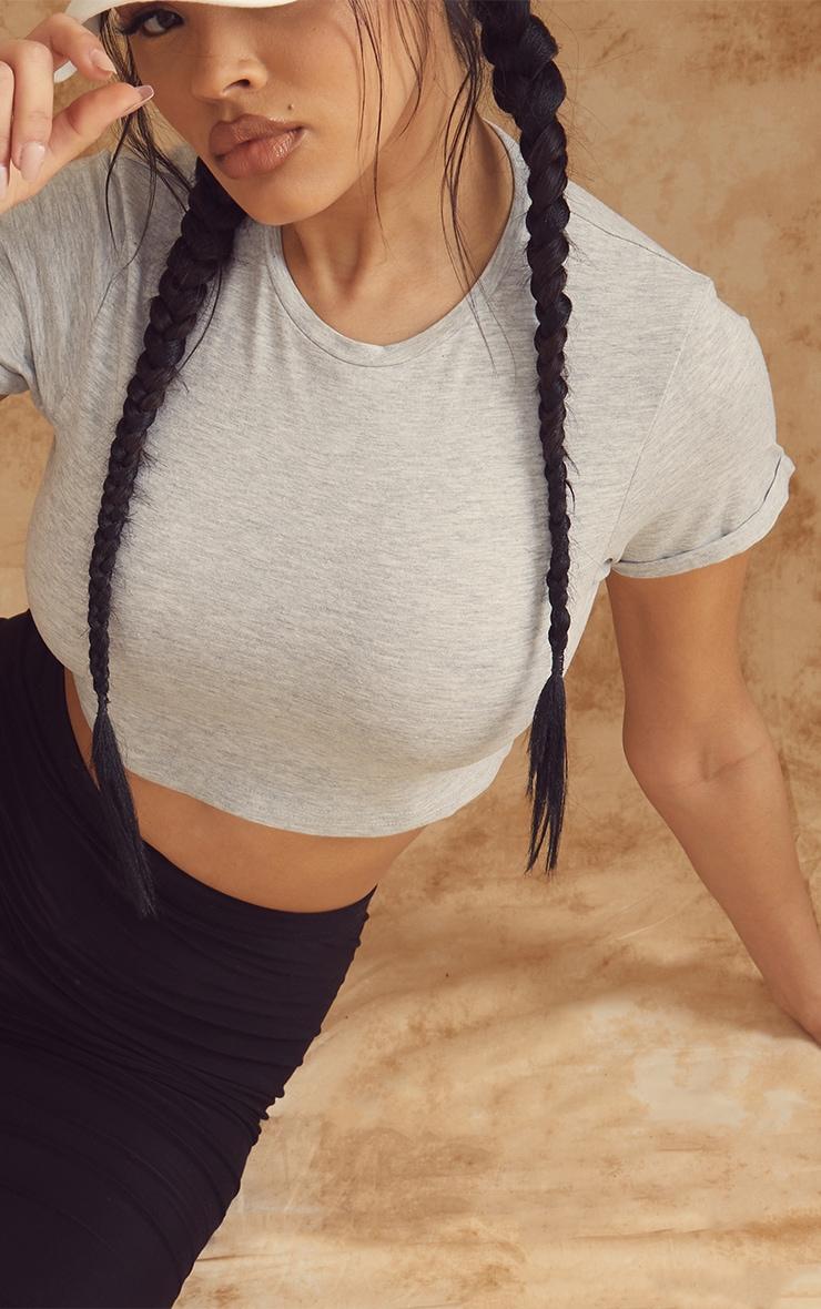 Basic Short Sleeve Grey Crop T Shirt 4