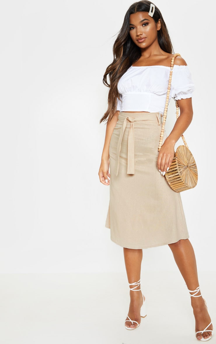 d6ae9ccef71b Stone Linen Mix Tie Waist Midi Skirt | Skirts | PrettyLittleThing