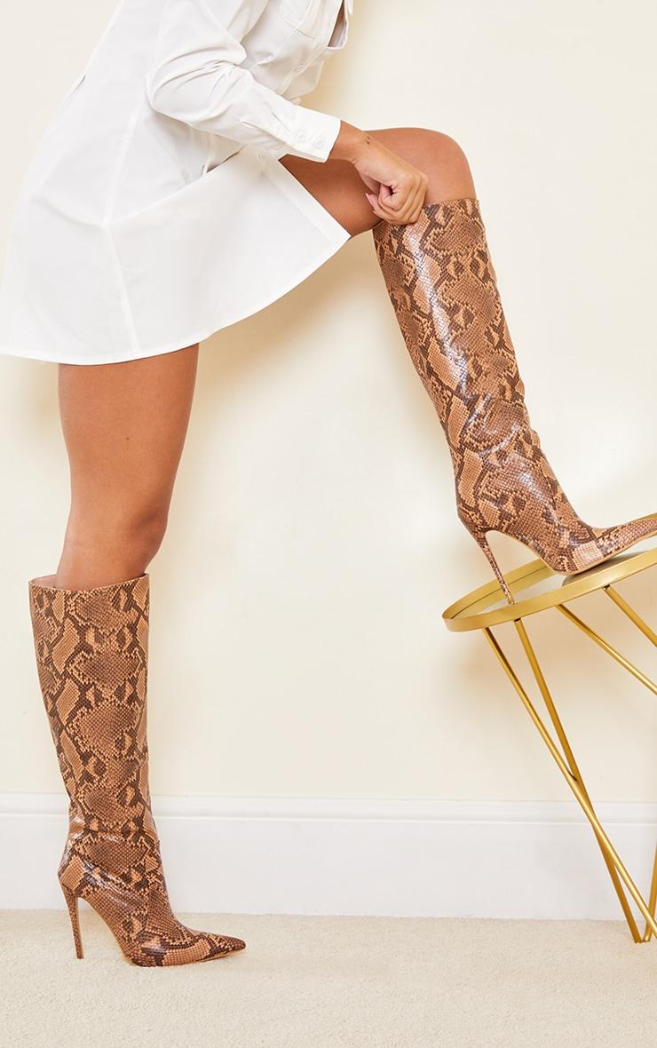 Snake Matte Pu Calf Stiletto Heeled Boots 1