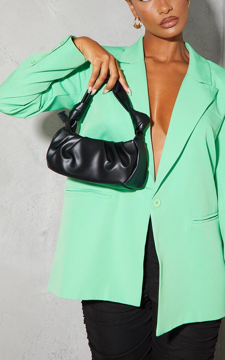 Black Double Knot Pleated Shoulder Bag 1