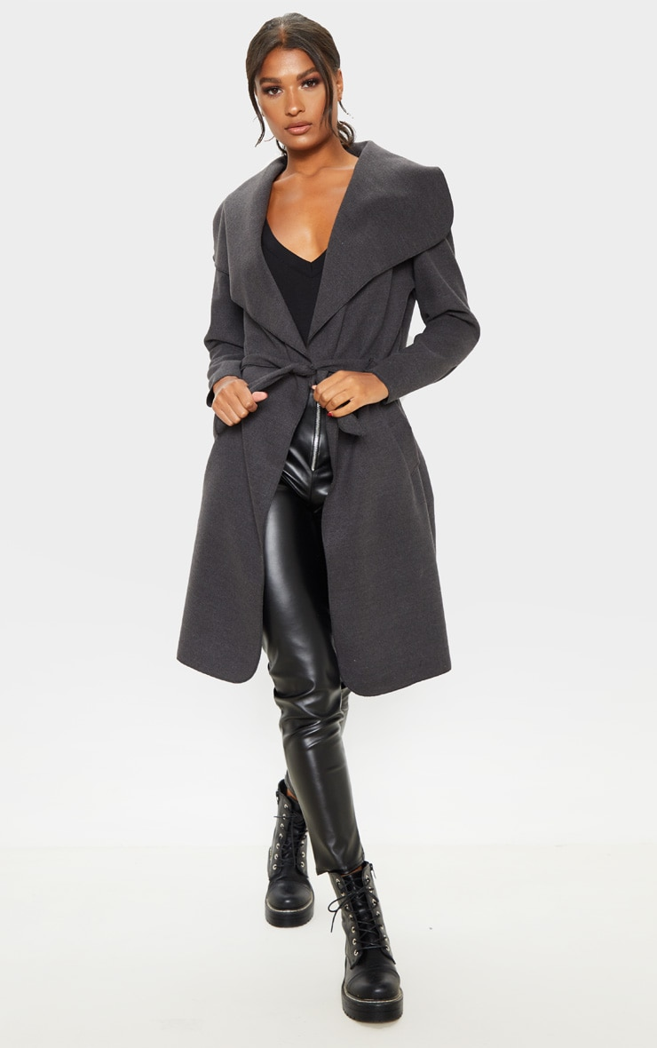 Veronica Charcoal Oversized Waterfall Belted Coat 4