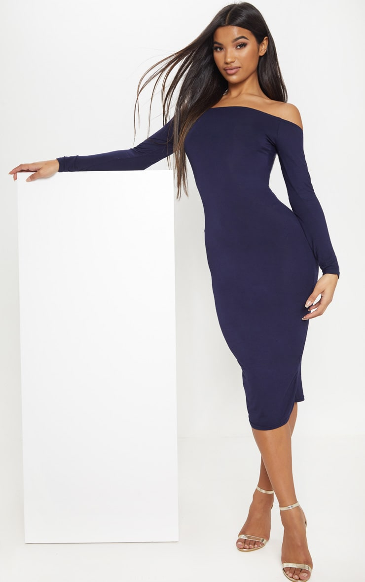 Basic Navy Jersey Bardot Midi Dress 4
