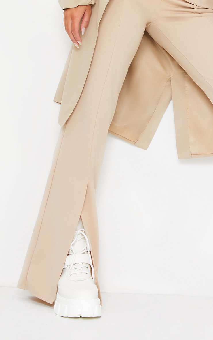 Stone Straight Leg Split Hem Trousers 4