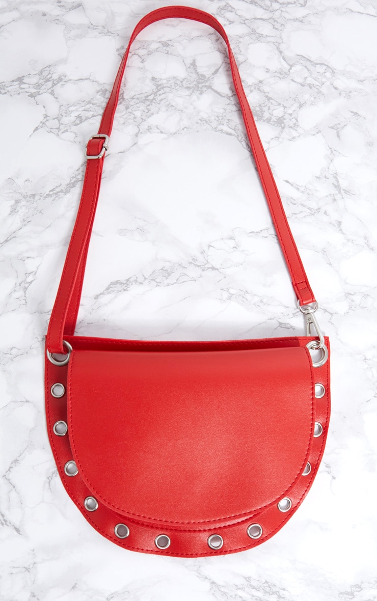 Red Rounded Eyelet Detail Bum Bag 4