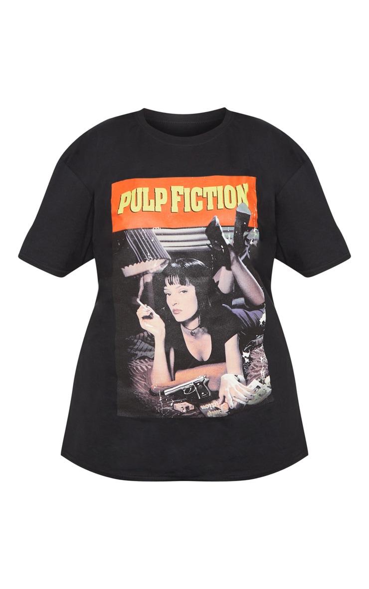 Plus Black Pulp Fiction Slogan T-shirt 3