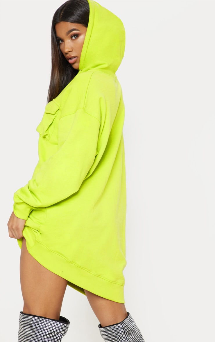 Neon Green Pocket Front Hoodie Dress 2