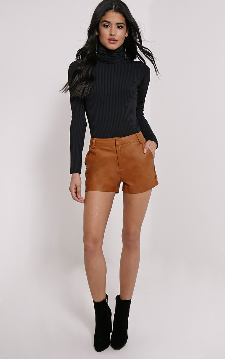 Pattie Tan Faux Leather Shorts 5