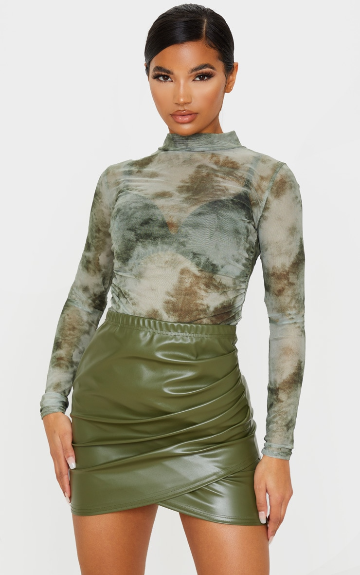 Khaki Faux Leather Ruched Wrap Skirt 5