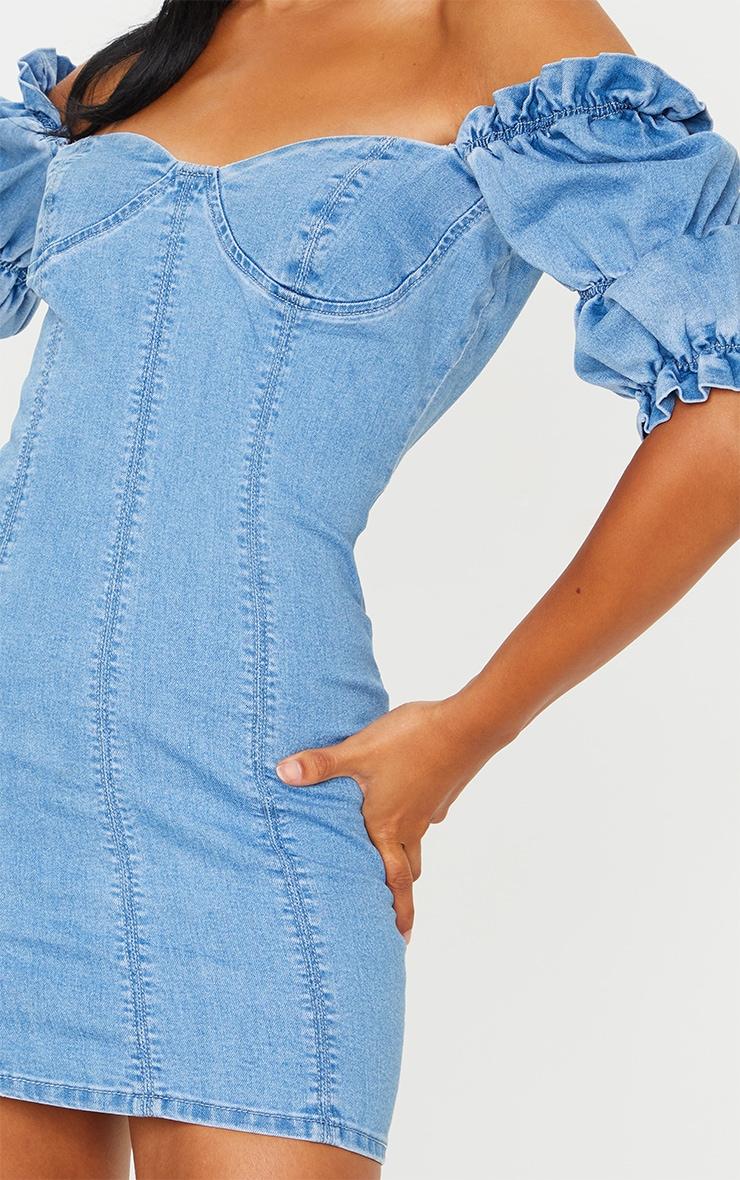 Light Blue Wash Ruffle Short Sleeve Denim Dress 4