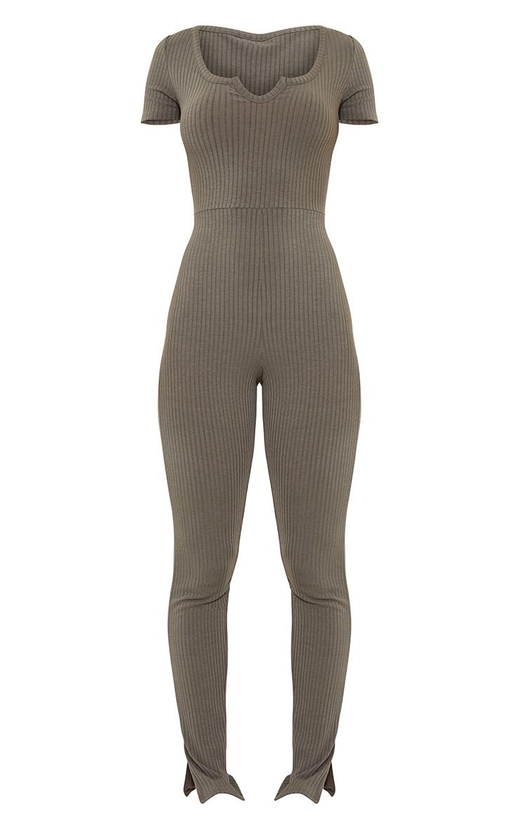 Khaki Rib V Detail Short Sleeve Jumpsuit 5