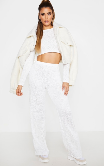 Tall Cream Soft Knit Flared Trouser