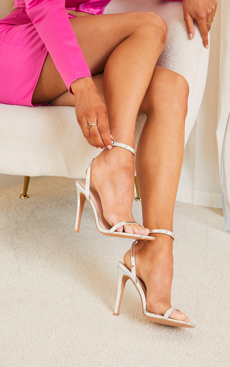 Silver PU Square Toe Barely There Strappy High Heels 2