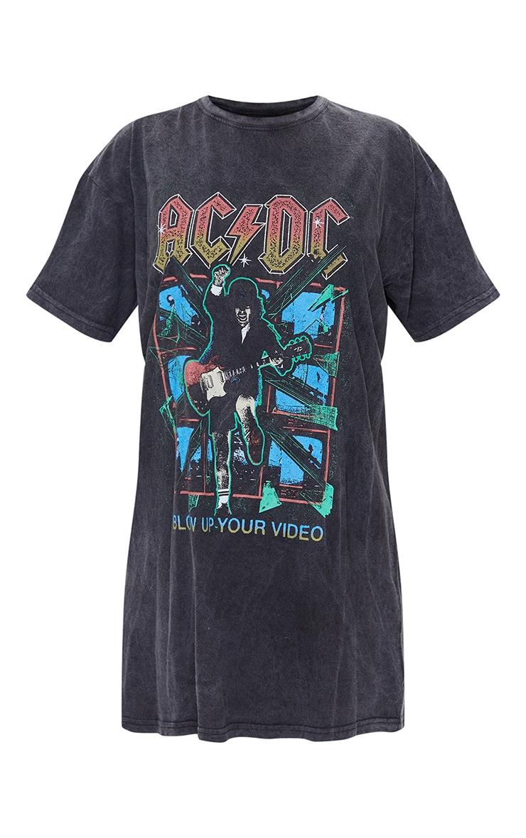 Black ACDC Print Acid Wash T Shirt Dress 5